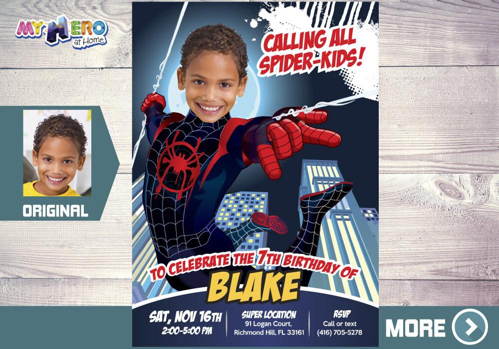Spider-Verse Invitation. Spider Verse Party. Spider-Man Into the Spider-Verse Party. Spider-Man Party. Spider-Verse Birthday. 399