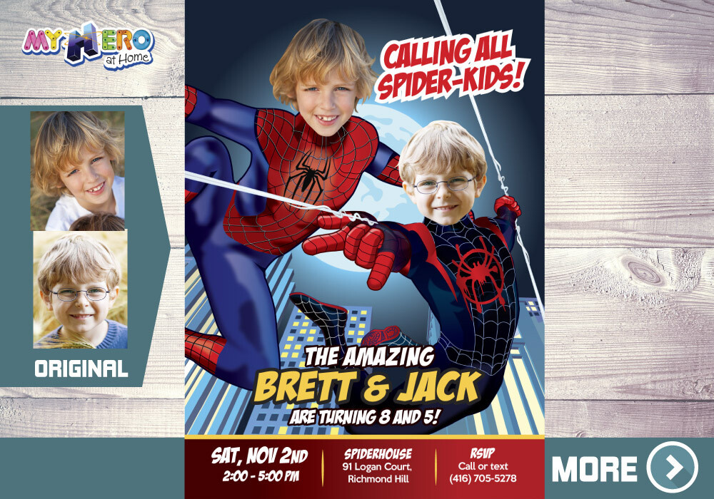 Spider-Man Siblings Invitation. Peter Parker and Miles Morales Invitation. Spiderman Siblings Birthday. Joint Spider-Verse Birthday. 402