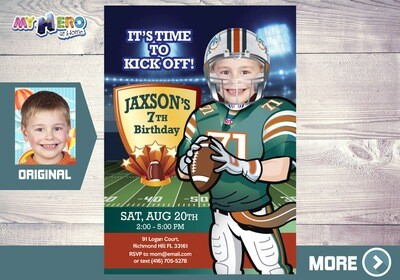 Miami Dolphins Invitation. Miami Dolphins Party. 346