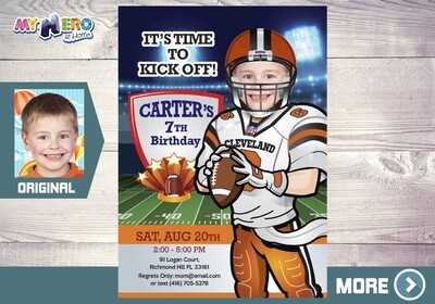 Cleveland Browns Party, Cleveland Browns Birthday Invitation, Cleveland Browns theme party, Cleveland Browns digital invitation. 390