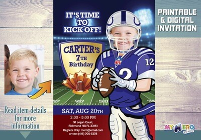 Indianapolis Colts Birthday Invitation. Football Party Ideas. 403