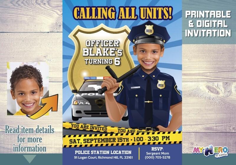 Police Birthday Invitation, Police Party theme, Police Digital Invitation, Police Drive By, Police Party Parade, Policeman Invitation. 233
