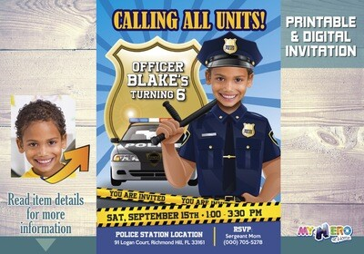 Police Birthday Invitation, Police Party theme, Police Digital Invitation, Police Drive By, Police Party Parade, Policeman Invitation. 233