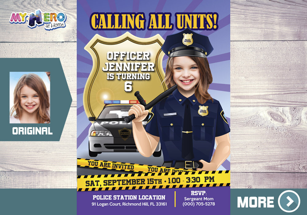 Police girl Birthday Invitation. Policewoman party invitation. Girl Police Party. 234