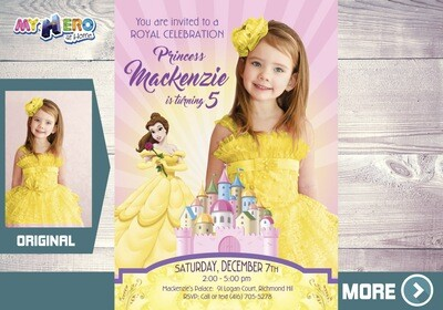 Princess Belle Party. Princess Belle Photo invitation. Princess Belle Birthday. Princess Belle Themed Party. Invitation Princesa Bella. 254