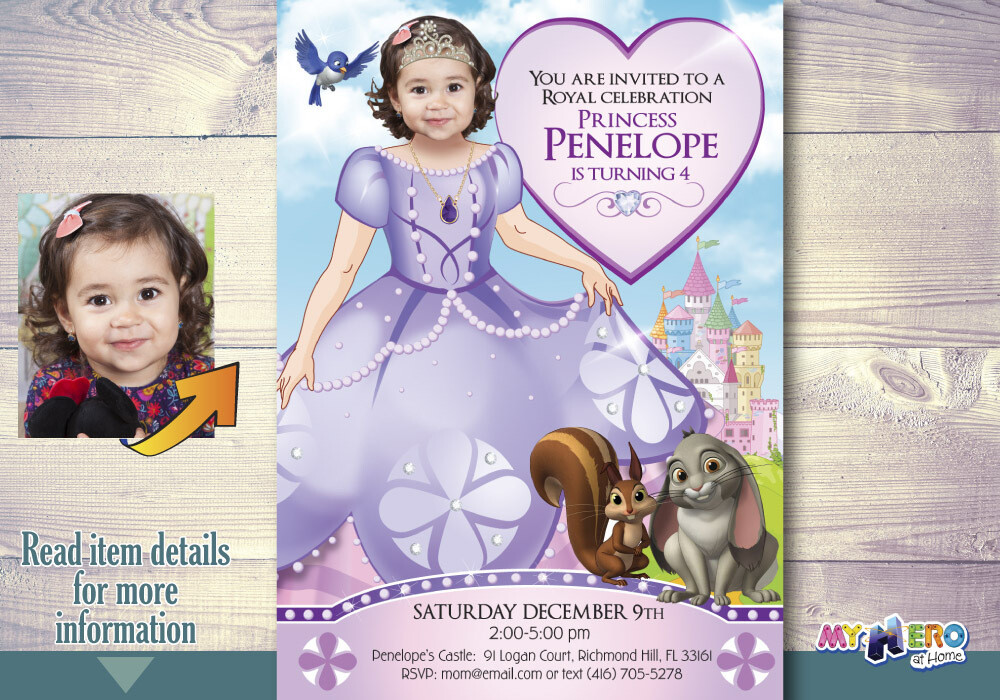 Princess Sofia Birthday Invitation. Princess Sofia Party Ideas. Turn your little girl into Princess Sofia. Fiesta tema Princesa Sofia. 263