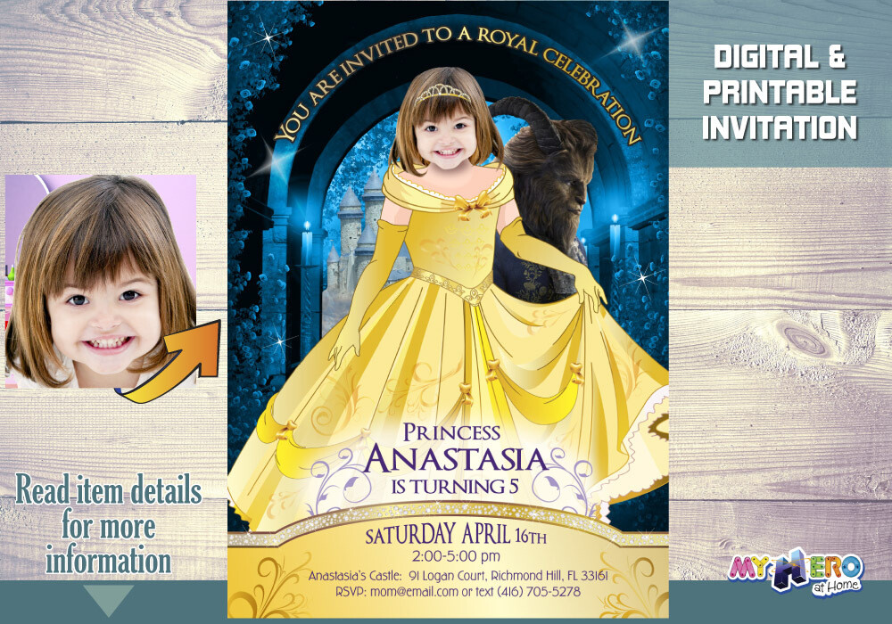 Princess Belle birhday Invitation, Princess Belle Theme Party, Princess Belle digital Invitation, Princess Belle favor tags. 251