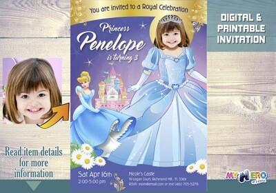 Cinderella Birthday Invitations. Your princess as beautiful as Cinderella! Cinderella Party invitation. Cinderella Party Ideas. 260