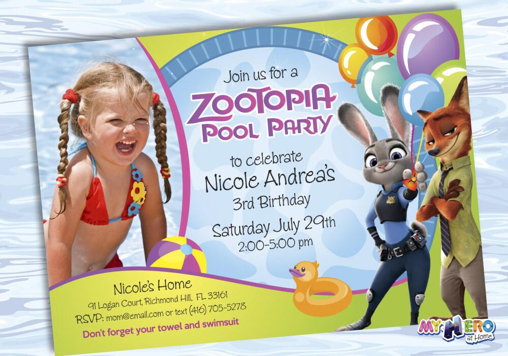 Zootopia Pool Party Birthday Invitation, Themed Zootopia Pool Party, Zootopia Digital Invitation. 054