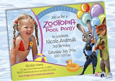 Zootopia Pool Party Birthday Invitation, Themed Zootopia Pool Party, Zootopia Digital Invitation. 054