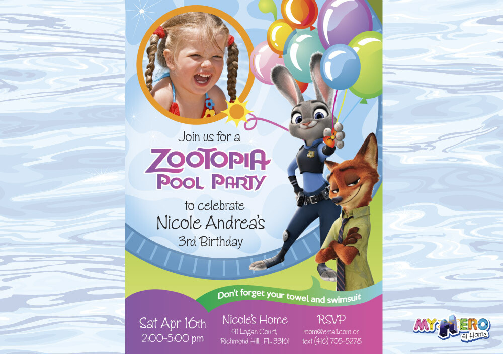 Zootopia Pool Party Birthday Invitation, Themed Zootopia Pool Party, Zootopia Digital Invitation. 055