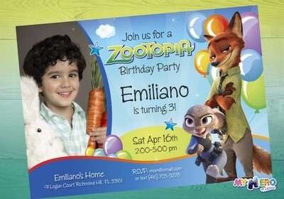 Zootopia Birthday Invitation for boys. Zootopia Birthday. 058