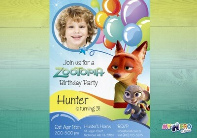 Zootopia Birthday Invitation for boys. Zootopia theme party. 056
