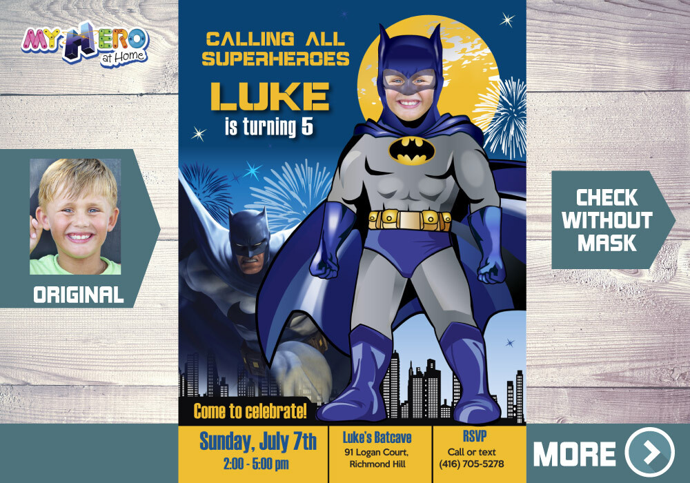 Batman Invitation. Batman Themed-Party. 061