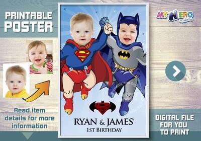 Super Babies Poster, Superman and Batman poster, Super Twins Poster, Custom Babies Superheroes Poster, Batman and Superman Poster. 363
