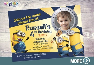Minions Invitation. Minions Party Ideas. Minions Photo Invitation. 041