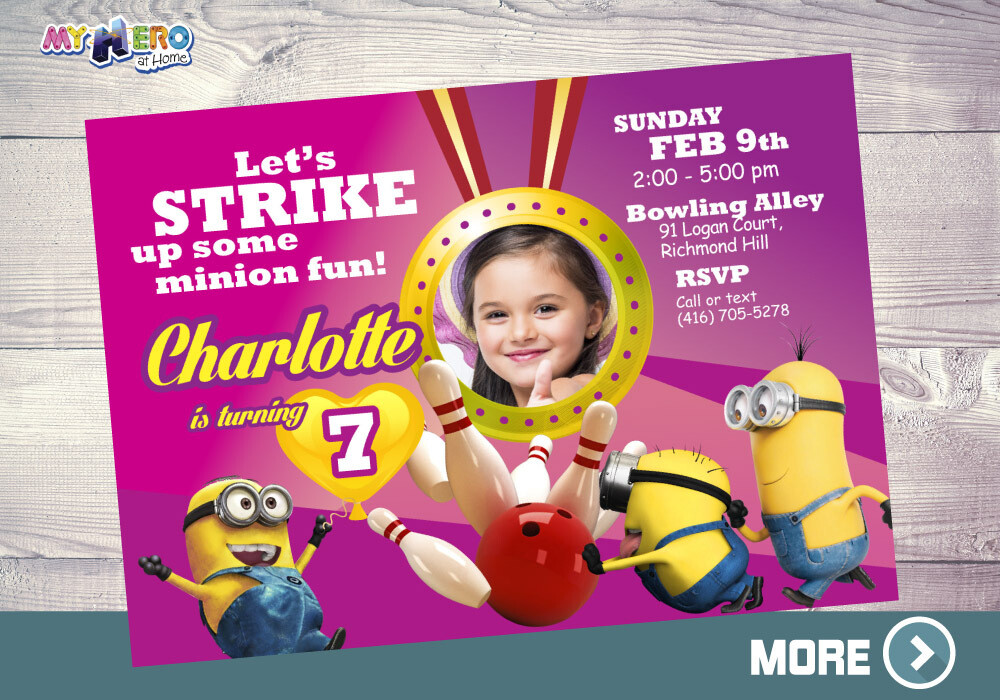 Pink Minions Bowling Party. Pink Minions Invitation. 043