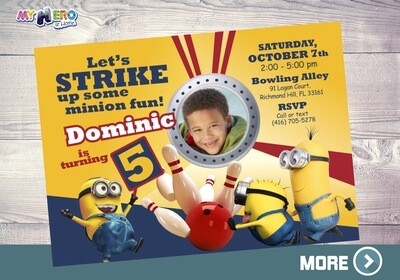 Minions Bowling Party. Minions Bowling Party Invitation. 044