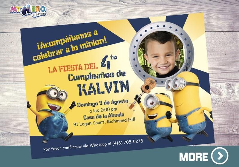 Minions Invitación de Cumpleaños, Fiesta Tema Minions, Invitación tema Minions, Cumpleaños tema Minions, Invitación Digital Minions. 042SP