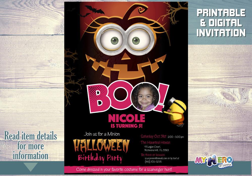 Girl Minions Halloween Birthday Invitation, Spooktacular Minions party, Minions Halloween Party, Girl Minions Digital Invitation. 049