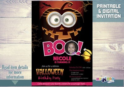 Minions Halloween Birthday Invitation for Girls. 049