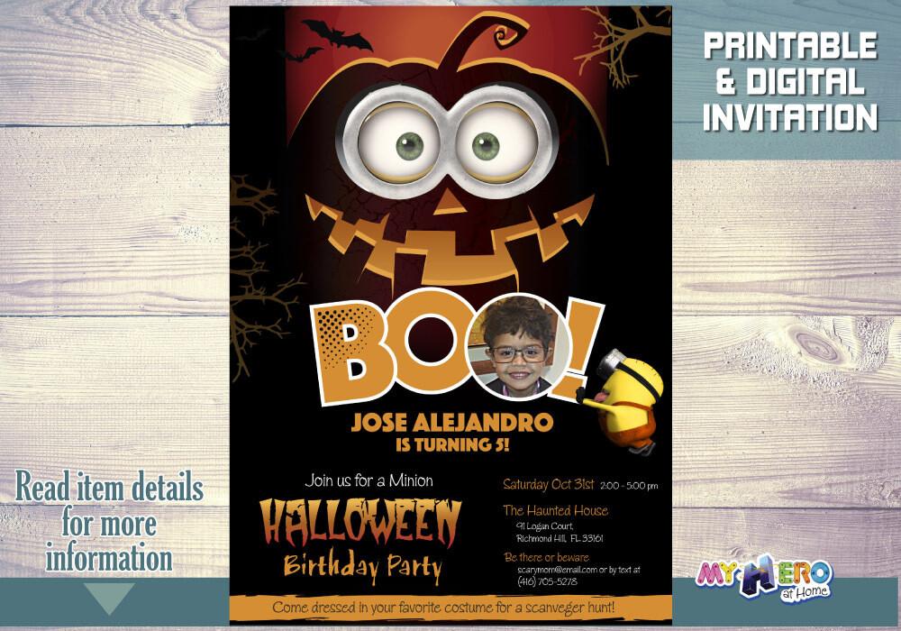 Minions Halloween Birthday Invitation, Spooktacular Halloween Minions party, Minions Halloween Party, Minions Digital Invitation. 048