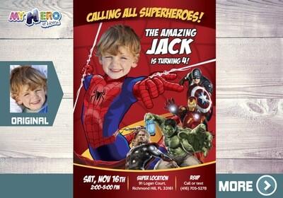 Spider-man Avengers Birthday Invitation, Spider-man Birthday, Spiderman Party, Invitación Spideerman, Spiderman Avengers Party, 103