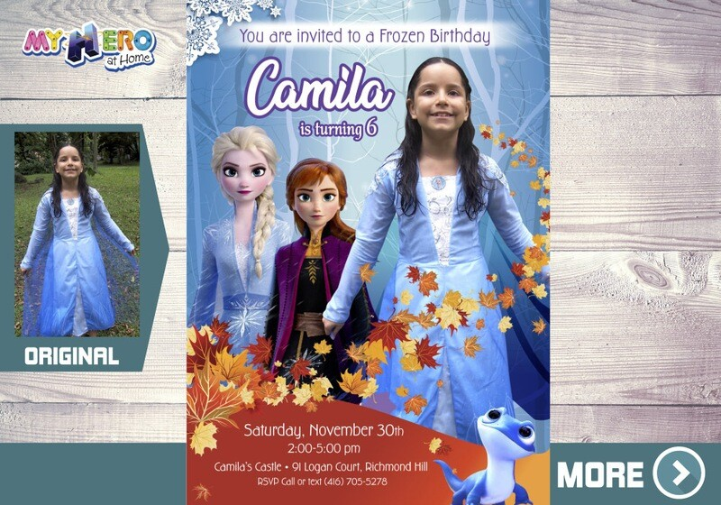 Frozen 2 Invitation. Frozen 2 Party. Frozen 2 Invitation with your little girl in her Elsa costume. 405