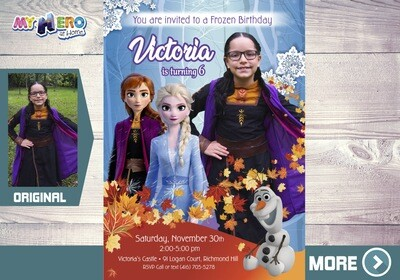 Anna Frozen 2 Invitation. Frozen 2 Party. Frozen 2 Invitation with your little girl in her Anna costume. 406