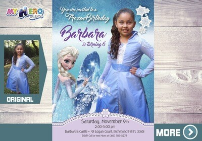 Frozen Birthday Invitation. Frozen Photo invitation. Your girl as Queen Elsa in her birthday invitation. 271B