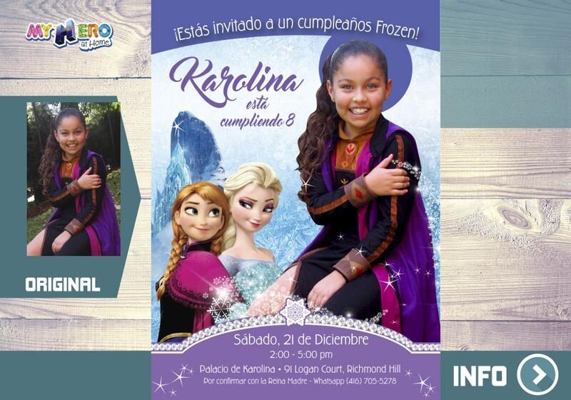 Invitación Frozen con su niña vestida de Anna. Invitación Frozen con foto. Fiesta tema Frozen. 269SP