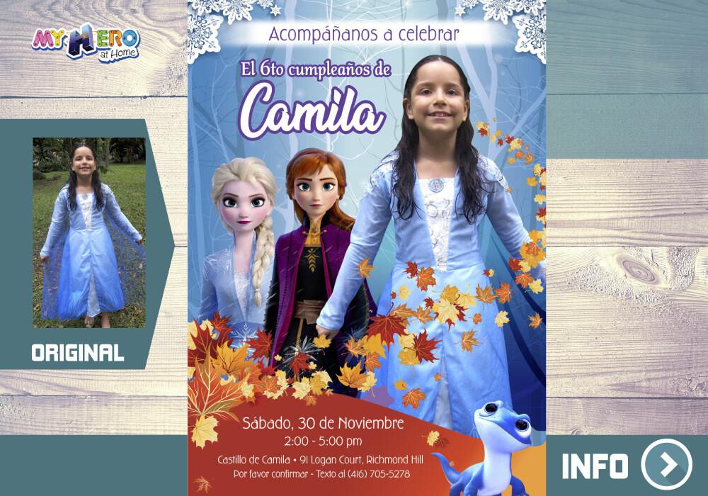 Invitación Frozen 2 con su niña como Elsa. Invitación Frozen 2 con foto. Fiesta tema Frozen. 405SP