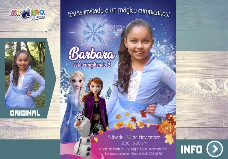 Frozen 2 Invitación con su niña como Elsa. Fiesta temática Frozen 2. 409SP