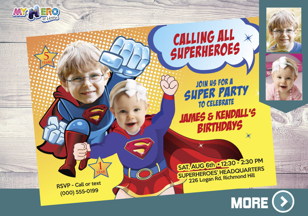 Superman & Supergirl Invitation. Super Siblings Invitation. Joint Superheroes Party. Super Brother and Super Baby Sister Invitation. 119