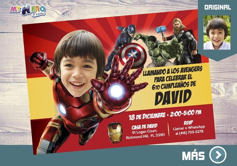 Iron man Invitación, Invitación cumple Iron man, Fiesta tema Iron man, Fiesta Avengers, Invitacion de Ironman, Cumple tema Avengers, 097SP