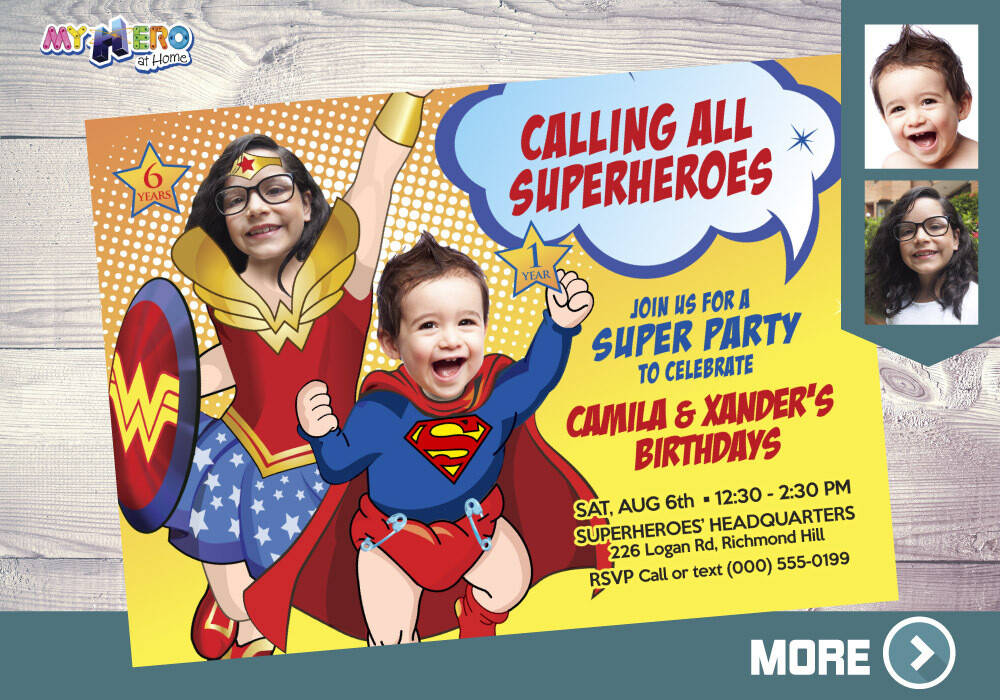 Superman and Wonder Woman Invitation. Joint Superheroes invitation. Justice League Siblings Party. Wonder Woman and Superman party. 133