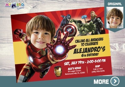 Iron Man Avengers Birthday Invitation, Iron man Party, Iron Man Digital, Iron man Virtual, Ironman Party Invitation. 097