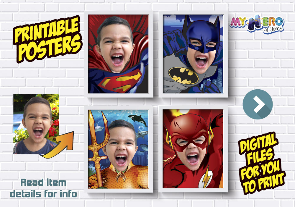 Posters of Superman, Batman, Aquaman and Flash, Justice League Posters, Superheroes Wall Decor, Justice League Decor, Superheroes Gifts. 411