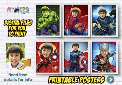 Avengers Posters, Posters of Hulk, Spider-Man, Iron Man, Thor, Captain America and more, Avengers Wall Decor, Avengers Room Decor. 412