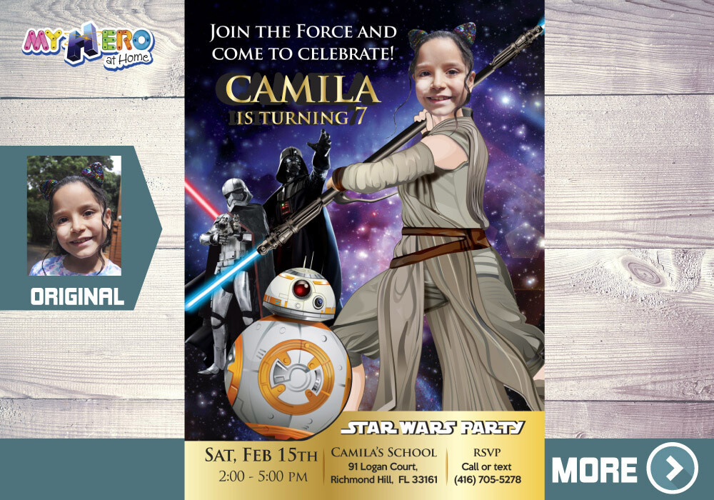 Star Wars Invitation for Girls. Turn your girl into Jedi Rey. Jedi Rey Invitation. Jedi Rey Party. Girly Star Wars party. Jedi Rey Decor. 006