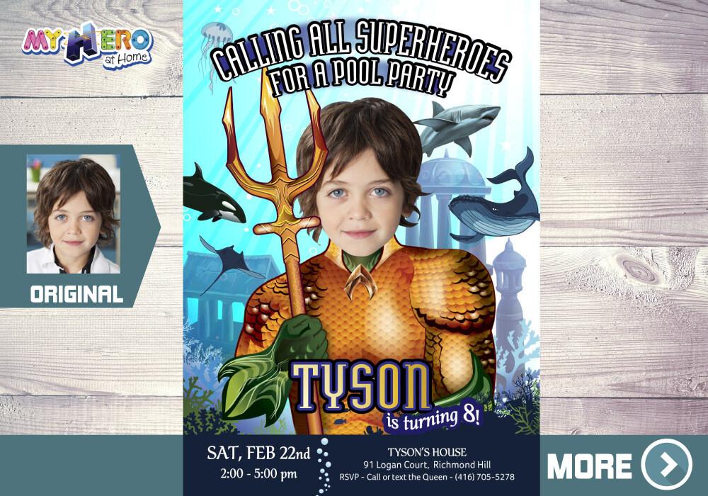 Aquaman Party Invitation, Aquaman Birthday, Atlantis Party Ideas, Aquaman Digital, Fiesta de Aquaman, Aquaman Decoration, 195
