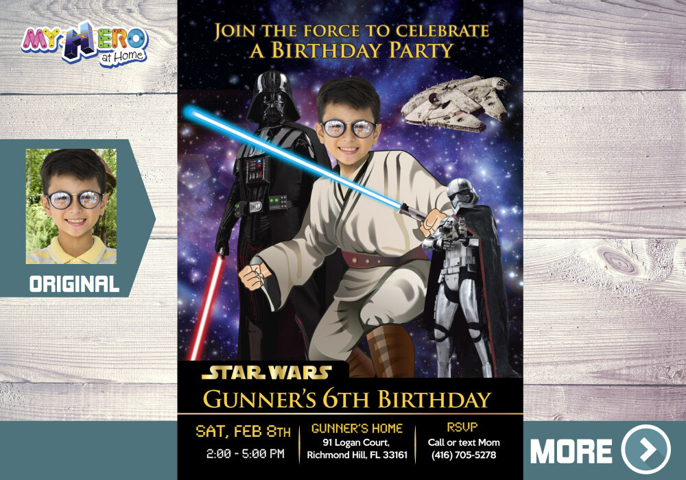 Star Wars Invitation. Turn your kid into a Jedi. Star Wars Party. Jedi Birthday Invitation. Star Wars Birthday. Jedi Decoration. 214