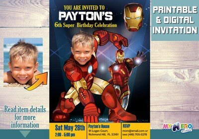 Iron Man Birthday Invitation, Iron man Party, Iron Man Digital, Iron man Virtual, Ironman Theme party, Ironman Birthday. 096