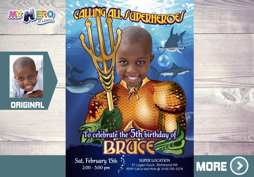 Aquaman Invitation, Aquaman Party, Aquaman Virtual, Aquaman Digital, Aquaman Party Decor, Aquaman Under the Sea Party, 188