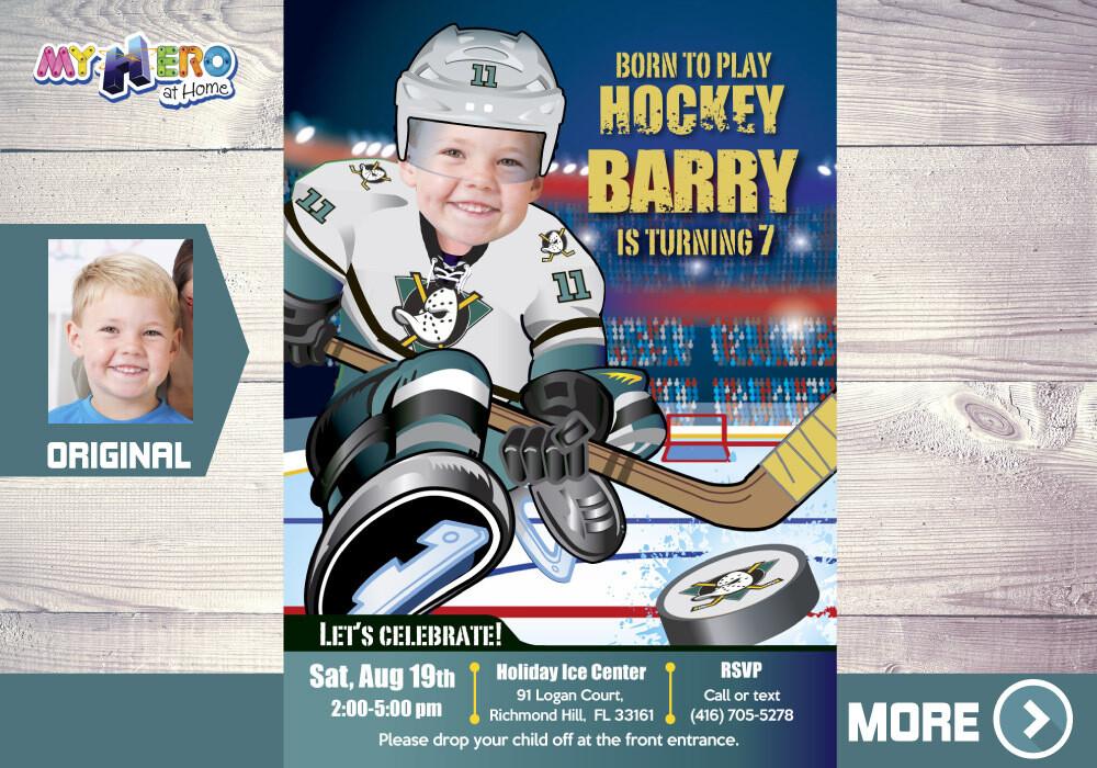 The Mighty Ducks Birthday Invitation, Mighty Ducks Party, Children Hockey Party, Hockey Digital, Hockey Virtual, Hockey Birthday. 336