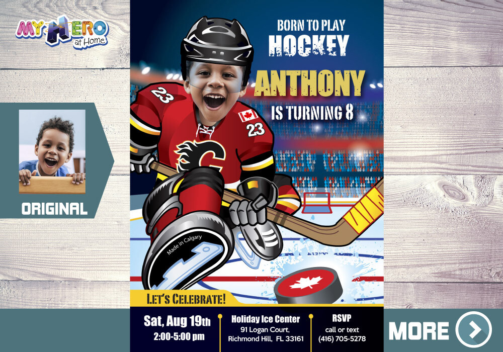 Calgary Flames Birthday Invitation, Calgary Flames Party, Children Hockey Party, Hockey Digital, Hockey Virtual, Hockey Birthday. 300