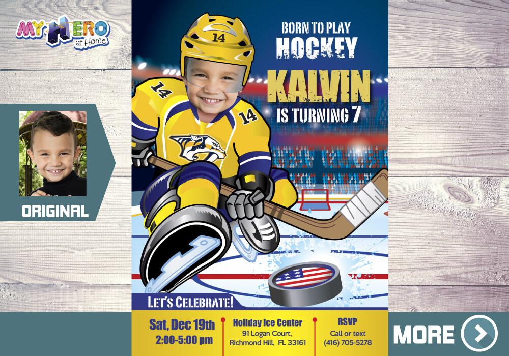 Nashville Predators Birthday Invitation, Nashville Predators Party, Ice Hockey Party, Hockey Digital, Hockey Virtual, Hockey Birthday. 325
