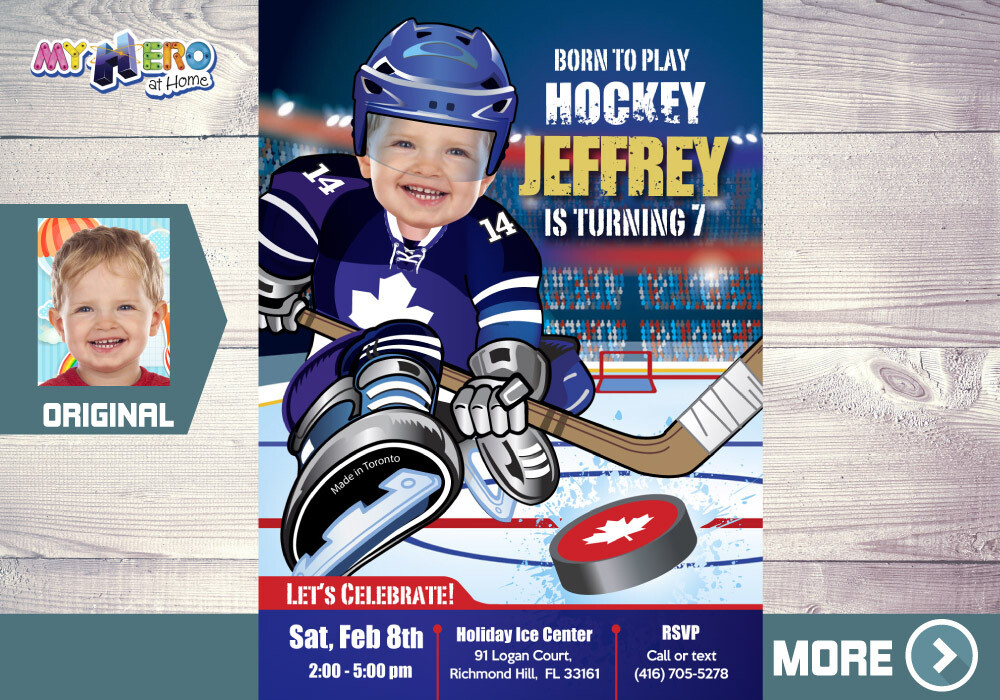 Toronto Maple Leafs Birthday Invitation, Toronto Maple Leafs Party, Ice Hockey Party, Hockey Digital, Hockey Drive By Hockey Birthday. 308