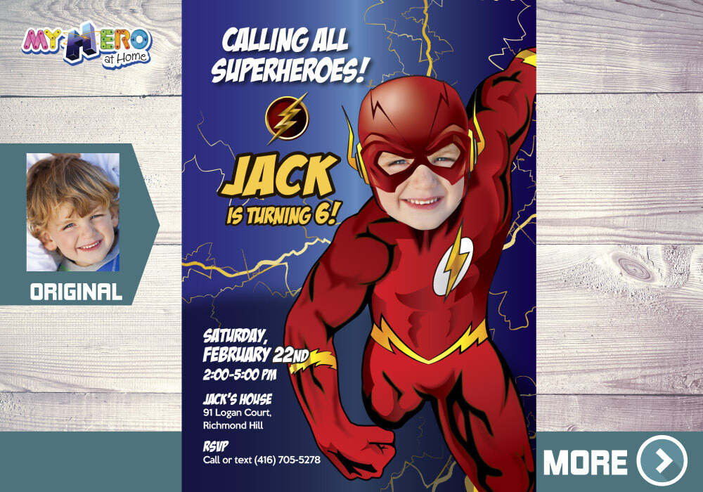 Flash Party. Flash Invitation. Flash Birthday. Get here in a Flash Party. Turn your boy into Flash for his unique Birthday Invitation. 151