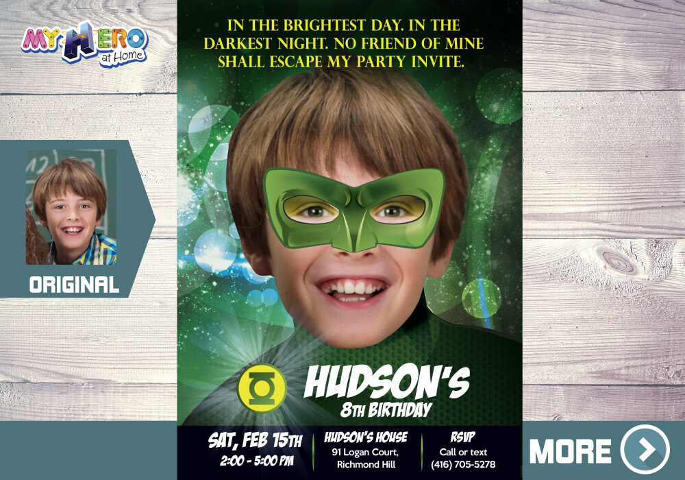 Green Lantern Birthday Invitation, Green Lantern theme Party, Green Lantern Digital, Green Lantern Virtual, Party Green Lantern. 087